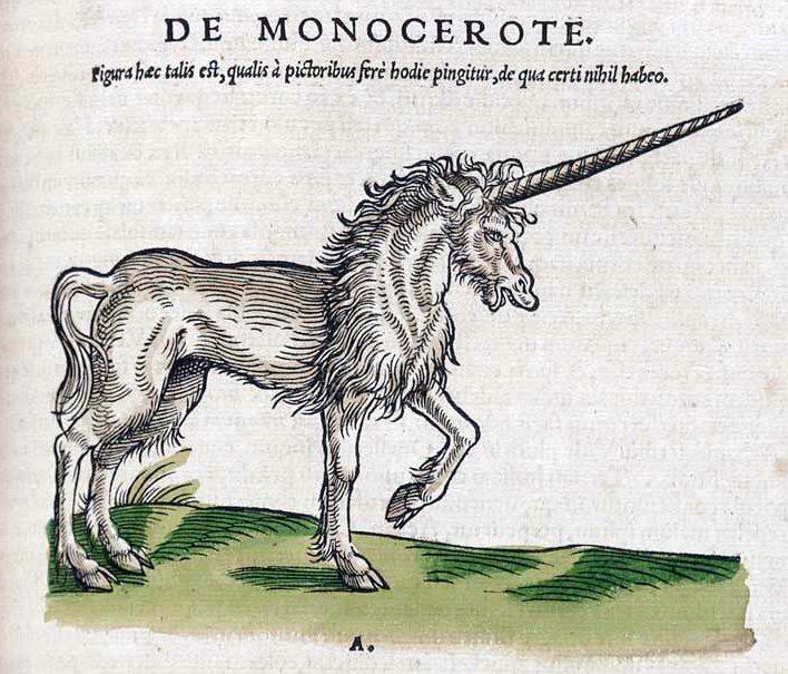 Das gemeine Einhorn in einer Darstellung von 1551.