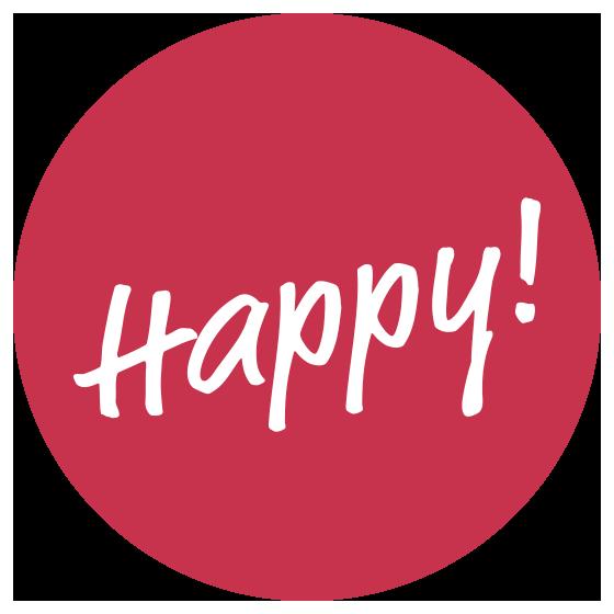 Button mit Inschrift Happy