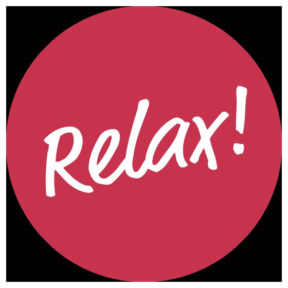 Button mit Inschrift Relax