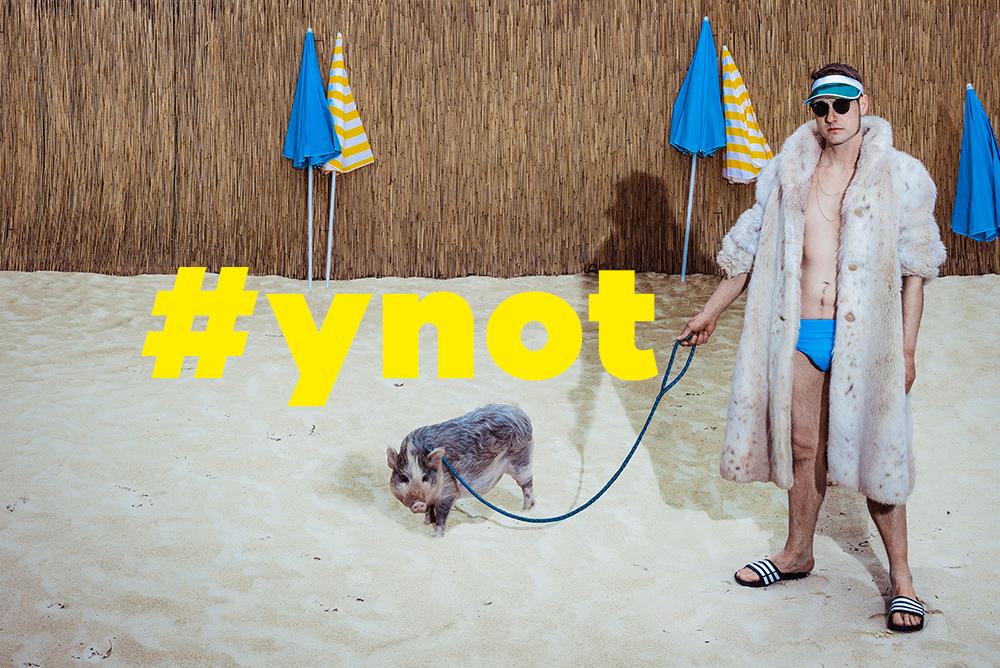 Mann mit Pelzmantel und Schwein am Strand