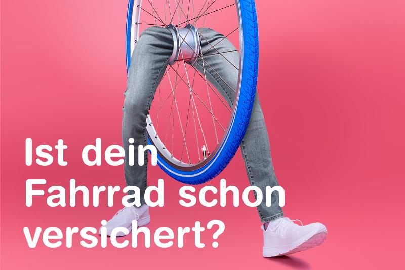 Fotomontage Fahrradreifen mit Beinen