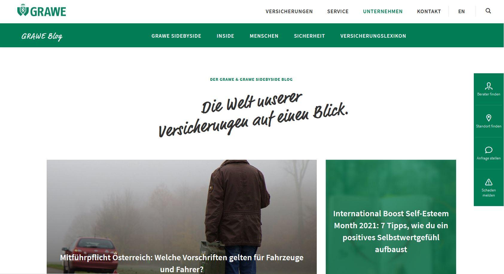 Screenshot Startseite Blog